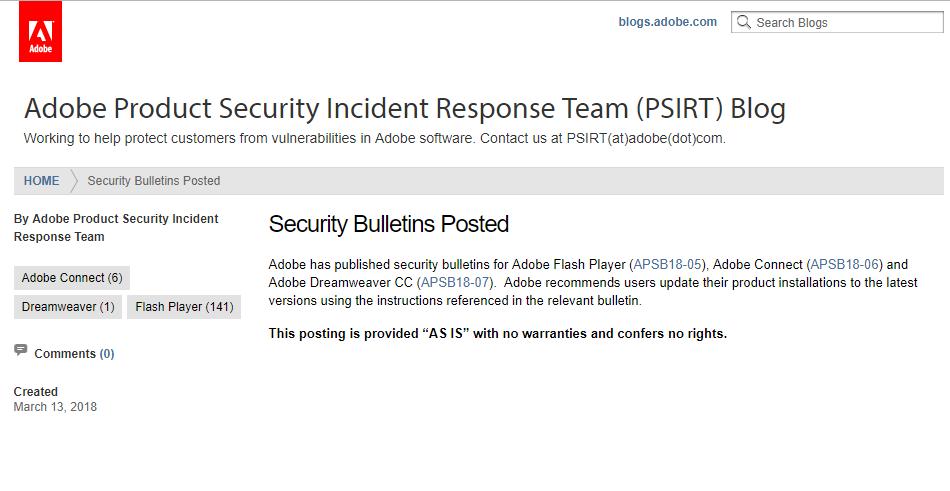 Adobe 2018年3月 安全性更新