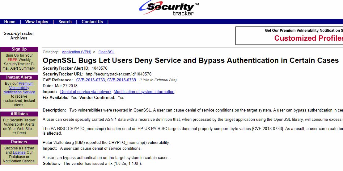 OpenSSL Bugs